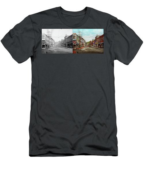 Men's T-Shirt (Athletic Fit) featuring the photograph City - Ma Glouster - A Little Bit Of Everything 1910 - Side By Side by Mike Savad