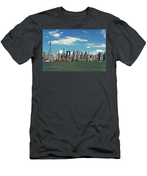 Men's T-Shirt (Slim Fit) featuring the photograph City - New York Ny - The New York Skyline by Mike Savad