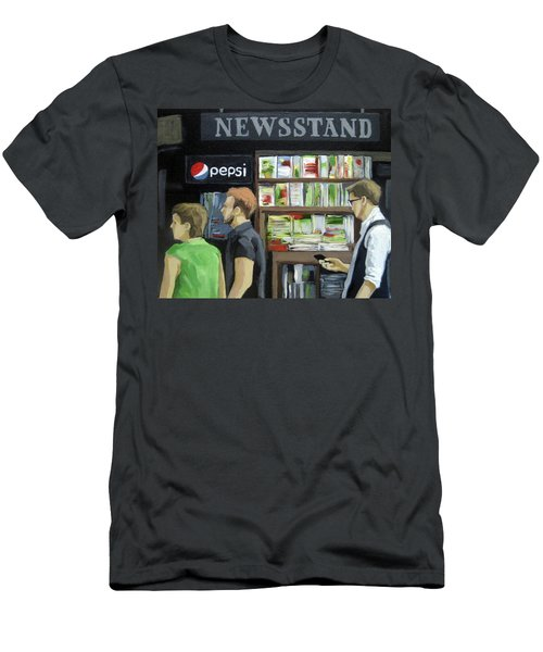 Men's T-Shirt (Slim Fit) featuring the painting City Newsstand - People On The Street Painting by Linda Apple