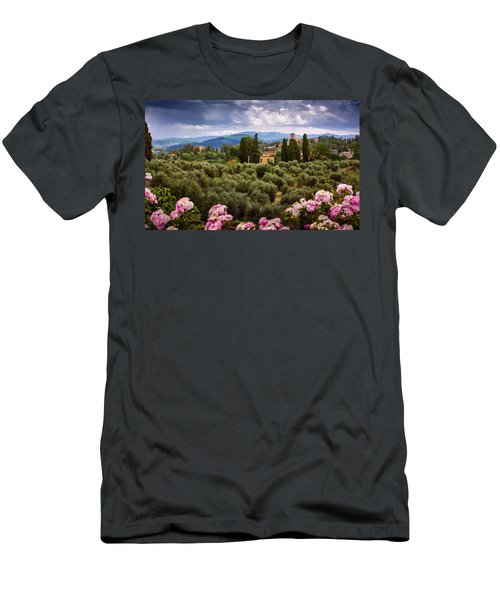 Tuscan Landscape With Roses And Mountains In Florence, Italy Men's T-Shirt (Athletic Fit)