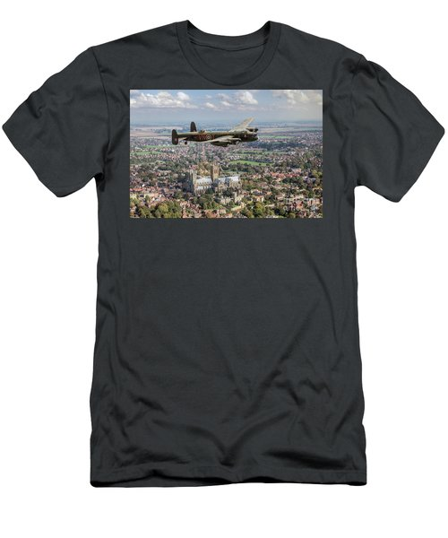 Men's T-Shirt (Athletic Fit) featuring the photograph City Of Lincoln Vn-t Over The City Of Lincoln by Gary Eason