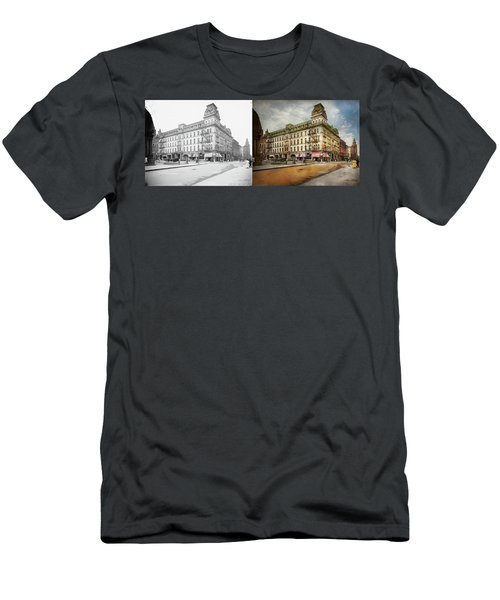 Men's T-Shirt (Athletic Fit) featuring the photograph City - Toledo Oh - Got A Boody Call 1910 - Side By Side by Mike Savad