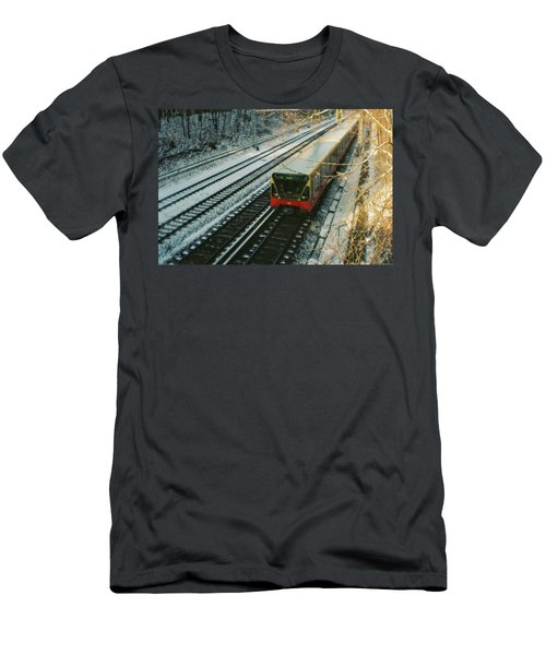 City Train In Berlin Under The Snow Men's T-Shirt (Athletic Fit)