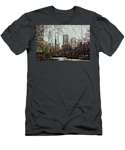 Men's T-Shirt (Slim Fit) featuring the photograph City View From Park by Sandy Moulder