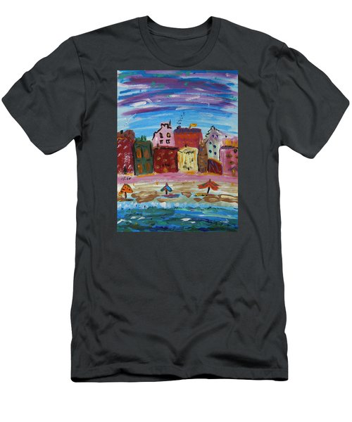 City With A Pink Boardwalk Men's T-Shirt (Slim Fit) by Mary Carol Williams