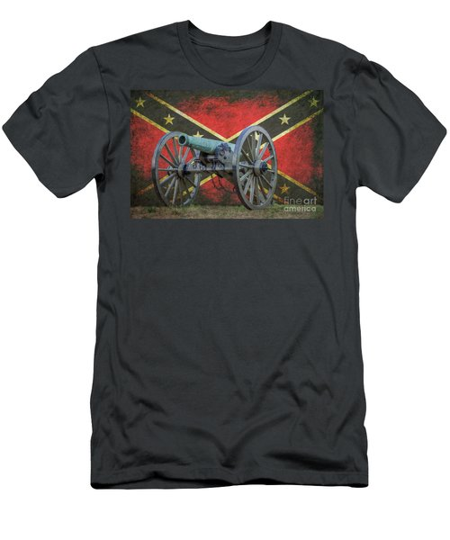 Civil War Cannon Rebel Flag Men's T-Shirt (Athletic Fit)