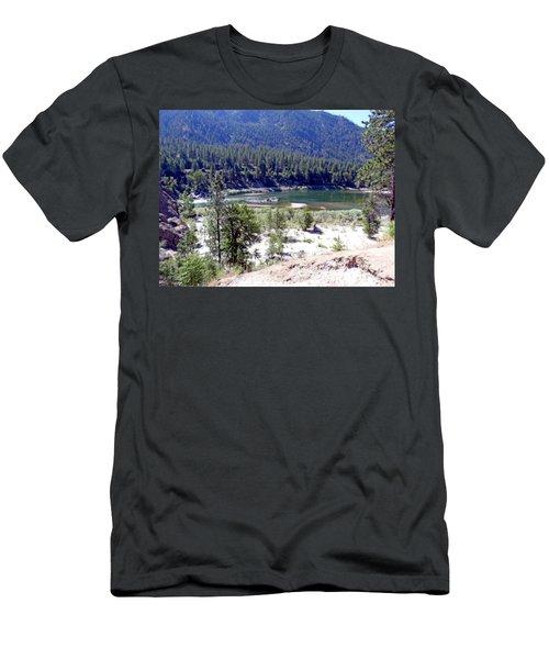 Clark Fork River Missoula Montana Men's T-Shirt (Slim Fit) by Kay Novy