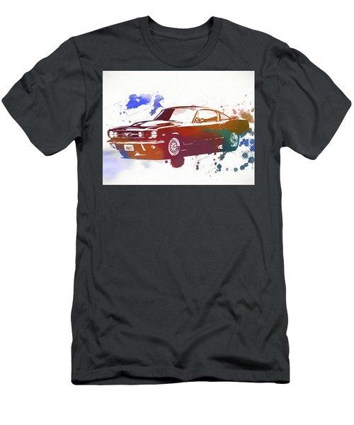 Classic Ford Mustang Watercolor Splash Men's T-Shirt (Slim Fit) by Dan Sproul