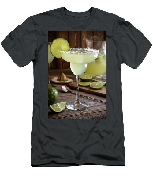 Men's T-Shirt (Slim Fit) featuring the photograph Classic Lime Margaritas On The Rocks by Teri Virbickis