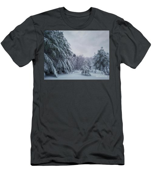 Classic Winter Scene In New England  Men's T-Shirt (Athletic Fit)