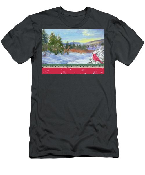 Men's T-Shirt (Slim Fit) featuring the painting Classic Winterscape With Cardinal And Reindeer by Judith Cheng
