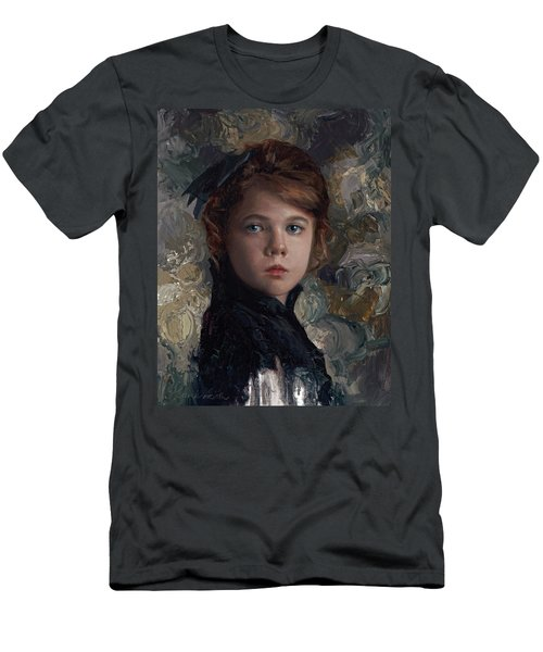 Men's T-Shirt (Slim Fit) featuring the painting Classical Portrait Of Young Girl In Victorian Dress by Karen Whitworth