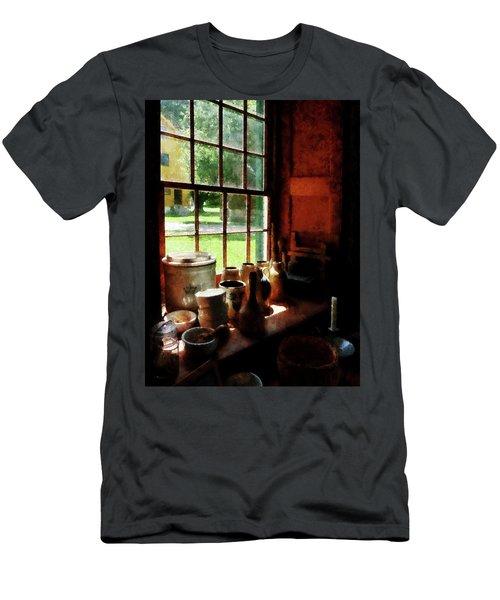 Clay Jars On Windowsill Men's T-Shirt (Slim Fit) by Susan Savad