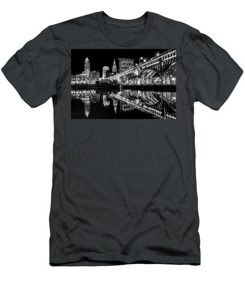 Men's T-Shirt (Slim Fit) featuring the photograph Cleveland After Dark by Brent Durken