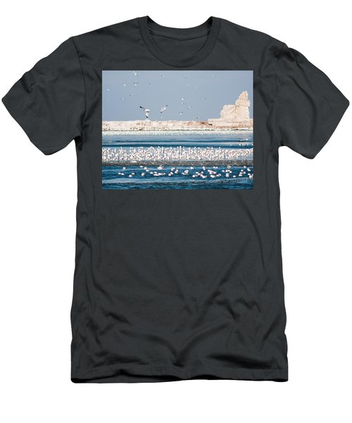 Cleveland Lighthouse In Ice  Men's T-Shirt (Athletic Fit)