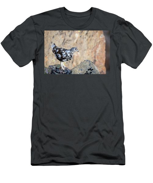Men's T-Shirt (Athletic Fit) featuring the photograph Cliffside Ptarmigan by Tim Newton