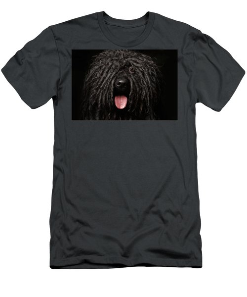 Men's T-Shirt (Athletic Fit) featuring the photograph Close Up Portrait Of Puli Dog Isolated On Black by Sergey Taran