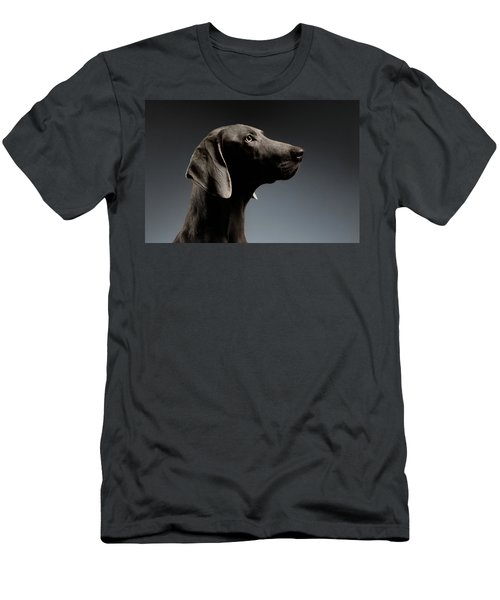 Men's T-Shirt (Athletic Fit) featuring the photograph Close-up Portrait Weimaraner Dog In Profile View On White Gradient by Sergey Taran