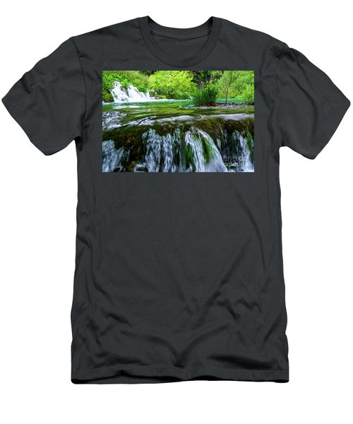 Close Up Waterfalls - Plitvice Lakes National Park, Croatia Men's T-Shirt (Athletic Fit)