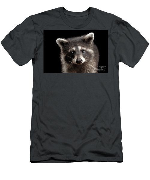 Closeup Portrait Cute Baby Raccoon Isolated On Black Background Men's T-Shirt (Slim Fit) by Sergey Taran
