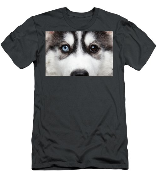 Men's T-Shirt (Athletic Fit) featuring the photograph Closeup Siberian Husky Puppy Different Eyes by Sergey Taran