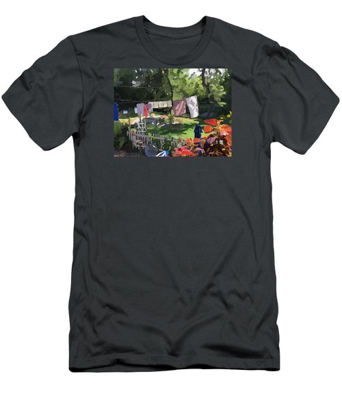 Clothesline And Coleus In An East Gloucester  Ma Garden  Men's T-Shirt (Athletic Fit)
