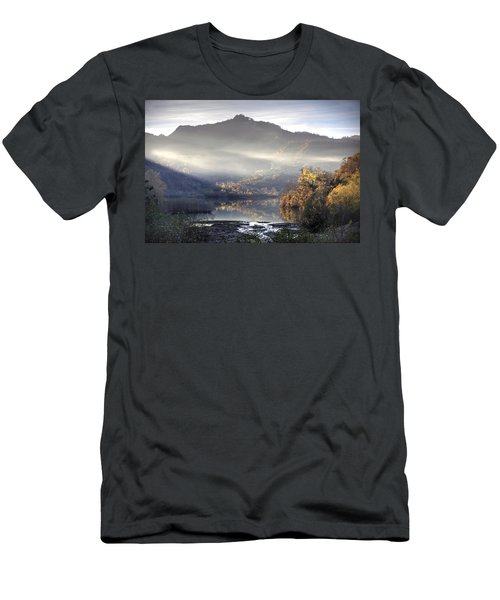 Men's T-Shirt (Slim Fit) featuring the photograph Mist In The Evening by Gouzel -
