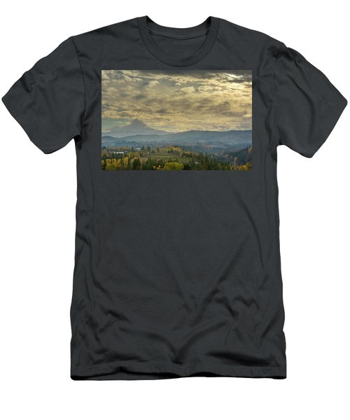 Clouds And Sun Rays Over Mount Hood And Hood River Oregon Men's T-Shirt (Athletic Fit)