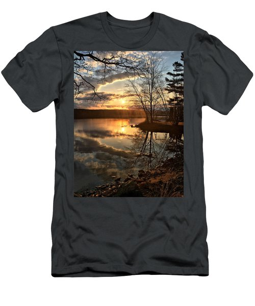 Clouds, Reflection And Sunset  Men's T-Shirt (Slim Fit) by Betty Pauwels