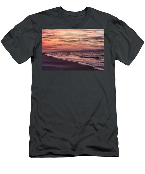 Men's T-Shirt (Slim Fit) featuring the photograph Cloudy Sunrise At The Beach by John McGraw