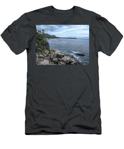 Coastal Landscape From Ocean Path Trail, Acadia National Park Men's T-Shirt (Athletic Fit)