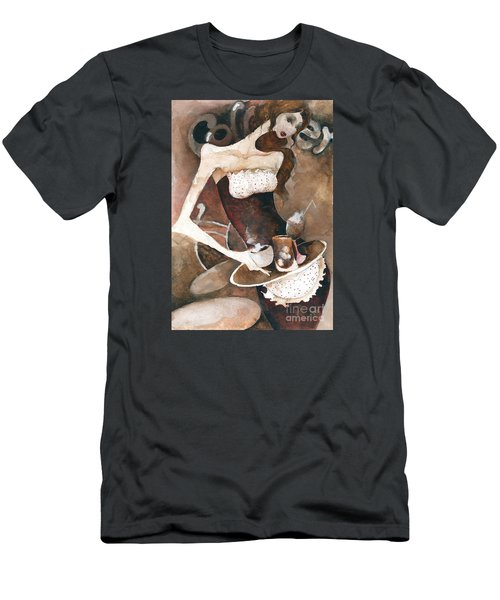 Men's T-Shirt (Slim Fit) featuring the painting Coffee Shop by Maya Manolova