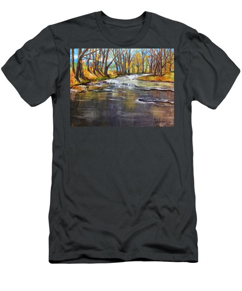 Men's T-Shirt (Slim Fit) featuring the painting Cold Day At The Creek by Annamarie Sidella-Felts