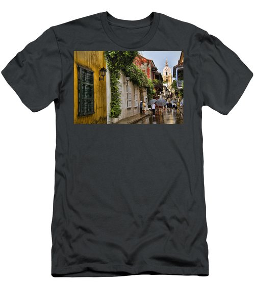 Colonial Buildings In Old Cartagena Colombia Men's T-Shirt (Slim Fit) by David Smith
