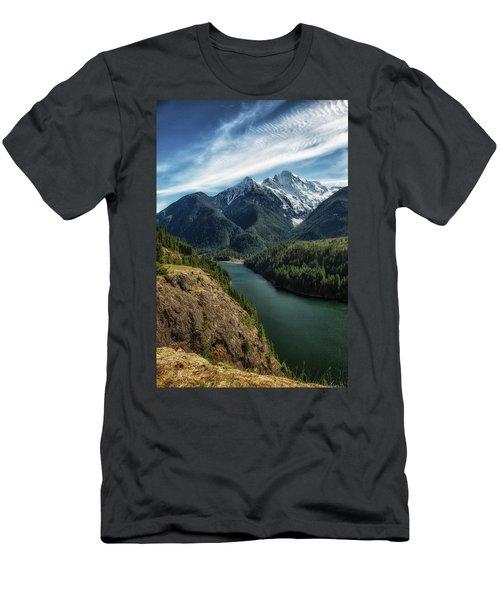 Colonial Peak Towers Over Diablo Lake Men's T-Shirt (Slim Fit) by Charlie Duncan