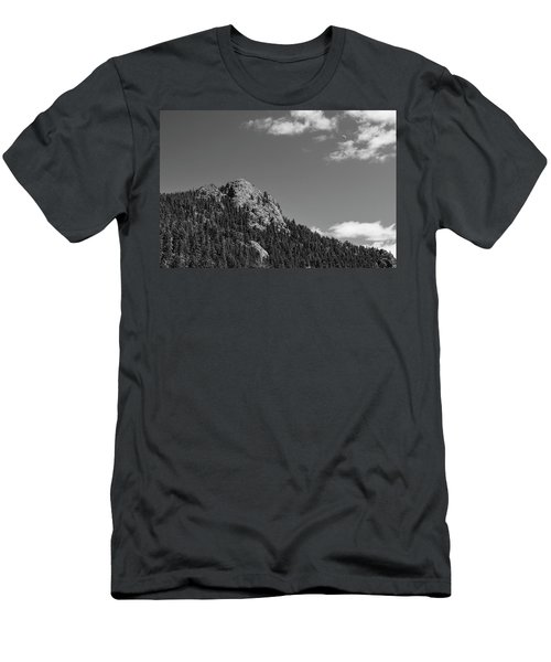 Men's T-Shirt (Slim Fit) featuring the photograph Colorado Buffalo Rock With Waxing Crescent Moon In Bw by James BO Insogna