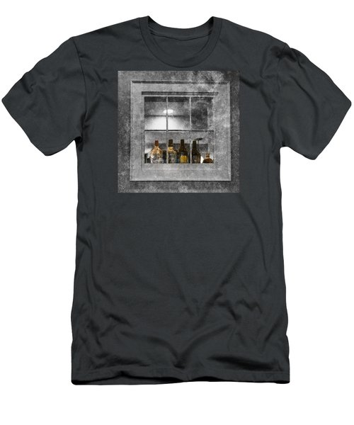 Men's T-Shirt (Slim Fit) featuring the photograph Colored Bottles In Window by Tom Singleton