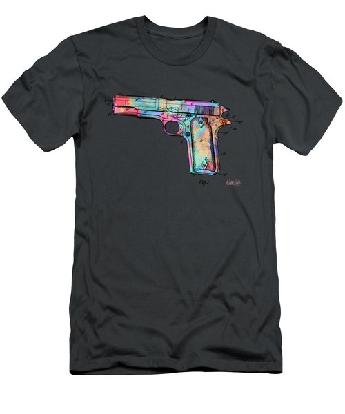 Colorful 1911 Colt 45 Browning Firearm Patent Minimal Men's T-Shirt (Athletic Fit)