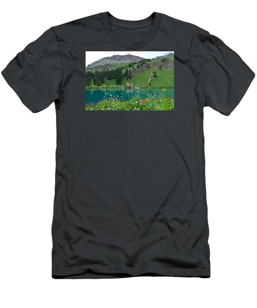 Colorful Blue Lakes Landscape Men's T-Shirt (Athletic Fit)