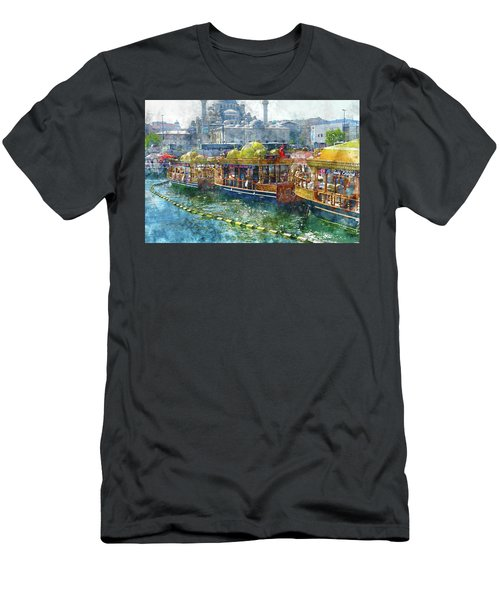 Colorful Boats In Istanbul Turkey Men's T-Shirt (Athletic Fit)