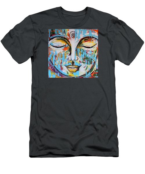 Colorful Buddha Men's T-Shirt (Slim Fit) by Theresa Marie Johnson