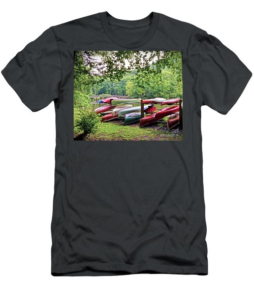 Colorful Canoes At Hungry Mother State Park Men's T-Shirt (Athletic Fit)