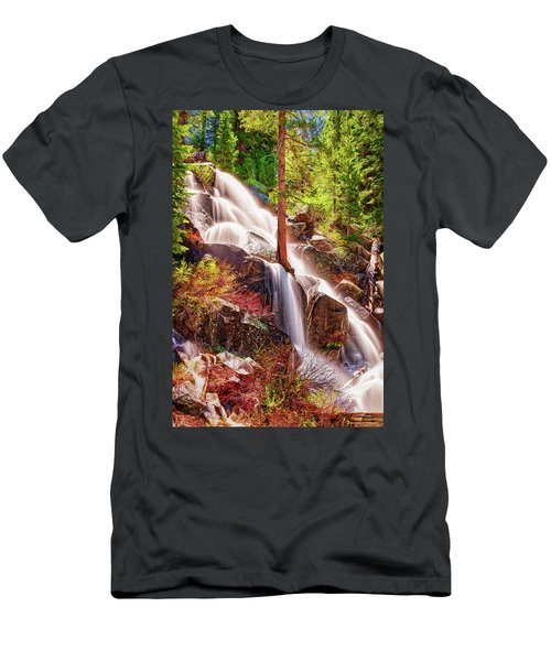 Colorful Cascade Waterfall On Tioga Pass Ap Men's T-Shirt (Athletic Fit)