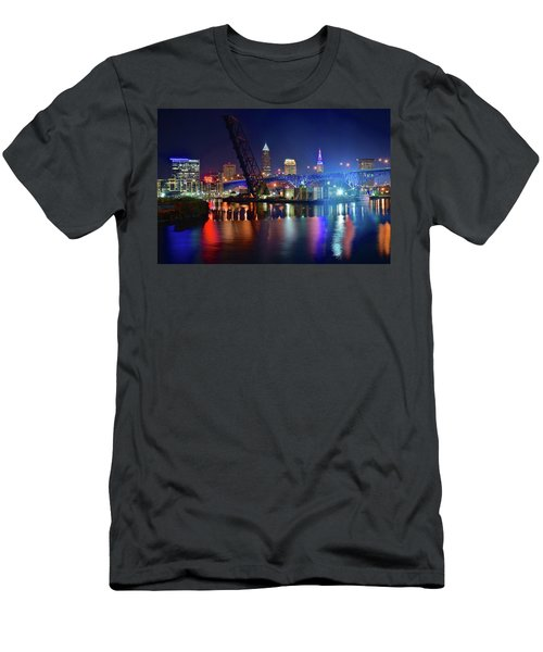 Men's T-Shirt (Slim Fit) featuring the photograph Colorful Cleveland Lights Shimmer Bright by Frozen in Time Fine Art Photography