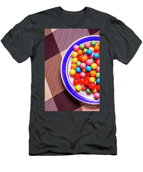Colorful Gumballs On Plate Men's T-Shirt (Athletic Fit)