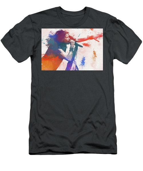 Colorful Steven Tyler Paint Splatter Men's T-Shirt (Athletic Fit)