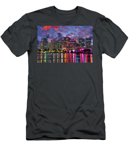 Colorful Sunset Over Downtown West Palm Beach Florida Men's T-Shirt (Athletic Fit)