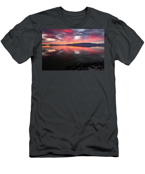 Men's T-Shirt (Athletic Fit) featuring the photograph Colorful Utah Lake Sunset by Wesley Aston