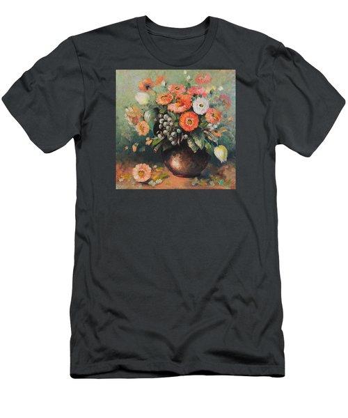 Coloroful Zinnias Bouqet Men's T-Shirt (Slim Fit) by Vali Irina Ciobanu