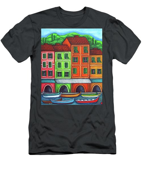 Men's T-Shirt (Athletic Fit) featuring the painting Colours Of Liguria by Lisa  Lorenz